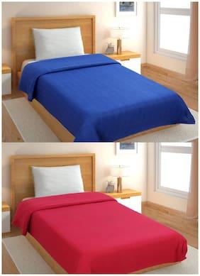 GoHome Polar Fleece Polyester Single Blanket (Pack of 2)