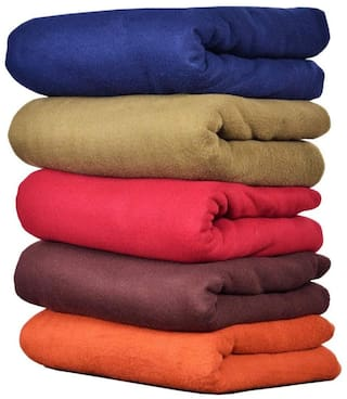 GoHome Polar Fleece Polyester Double Blanket (Pack of 5) - Solids