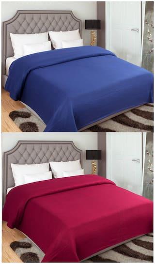 GoHome Polar Fleece Polyester Double Blanket (Pack of 2) - Maroon & Blue