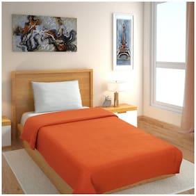 GoHome Polar Fleece Polyester Single Blanket (Pack of 1) - Orange