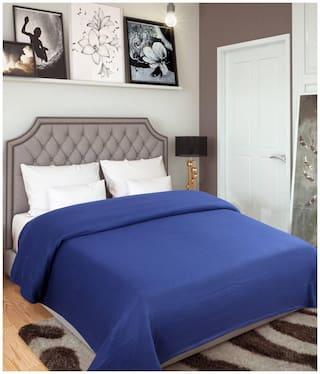GoHome Polar Fleece Polyester Double Blanket (Pack of 1) - Blue