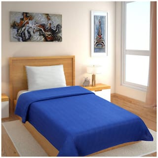 GoHome Polar Fleece Polyester Single Blanket (Pack of 1) - Blue