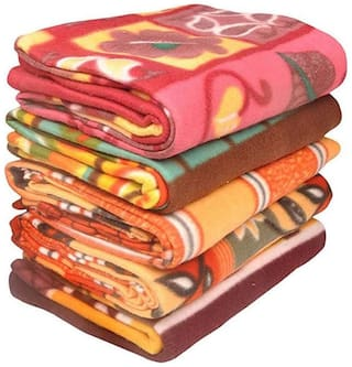 GoHome Polar Fleece Polyester Double Blanket (Pack of 5) - Printed
