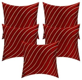 V.P ENTERPRISES Striped Silk Square Shape Red Cushion Cover ( Regular , Pack of 5 )
