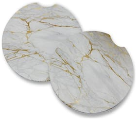 Gold Marble | Rubber Car Coasters | Set of 2