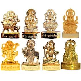 Gold Plated Combo of all The God Idols - Gold Plated Combo of Ganesh Laxmi Durga Saraswati Gai Krishna Radha Krishna Shiv Hanuman Idols