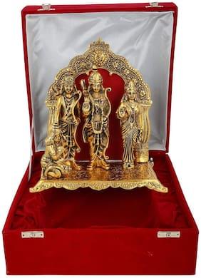 Gold Plated Ram Darbar Hanuman Sita Laxman God Idol with Beautiful Velvet Box Packing (29 cm, Gold)