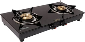 GOOD FLAME 2 Burners MS Powder Coated With Glass Top Gas Stove - Black