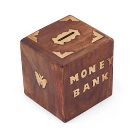 GoodsHawk Impex Wooden Cube Shaped Money Bank/Coin Collection Box -Set of 1