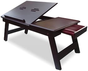Gorevizon Branded Wooden Laptop Table, Study Table, Multipurpose Table with Foldable Legs Brown