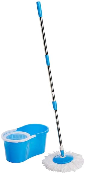 Gorevizon Easy Magic Floor Mop 360 Degree Bucket 2 Heads Microfiber Spin Spinning Rotating Head Blue/Purple/Red/Green (Color May Vary)
