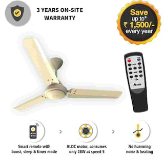 Gorilla Efficio Energy Saving 5 Star Rated 3 Blade Ceiling Fan With Remote Control and BLDC Motor, 1200mm- Ivory