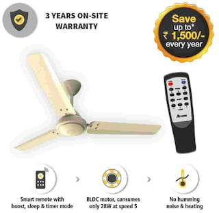 Gorilla EFFICIO ENERGY SAVING 5 STAR RATED WITH REMOTE CONTROL AND BLDC MOTOR 1200 mm Ceiling Fan - Ivory