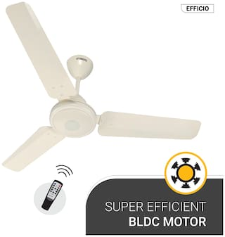 Atomberg Efficio Energy Saving 5 Star Rated with Remote Control and BLDC Motor 1200 mm Decorative Ceiling Fan ( Ivory , Pack of 1 )