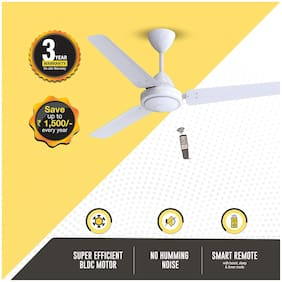 Atomberg Efficio Energy Saving 5 Star Rated with Remote Control and BLDC Motor 1200 mm Decorative Ceiling Fan ( White , Pack of 1 )