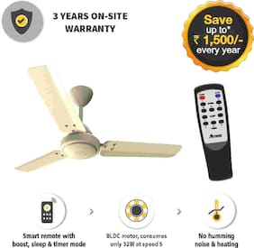 Gorilla Efficio Energy Saving 5 Star Rated 3 Blade Ceiling Fan With Remote Control and BLDC Motor, 1050mm- Ivory