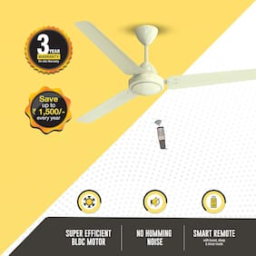 Atomberg Efficio Energy Saving 5 Star Rated with Remote Control and BLDC Motor 1400 mm Premium Ceiling Fan ( Ivory , Pack of 1 )