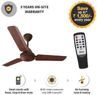 Gorilla EFFICIO ENERGY SAVING 5 STAR RATED WITH REMOTE CONTROL AND BLDC MOTOR 1050 mm Ceiling Fan - Matte Brown