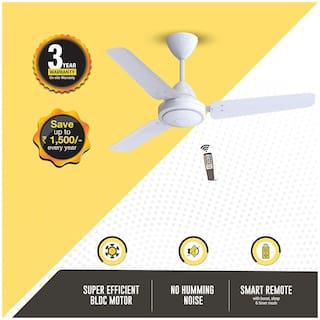 Atomberg Efficio Energy Saving 5 Star Rated with Remote Control and BLDC Motor 1050 mm Decorative Ceiling Fan ( White , Pack of 1 )