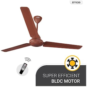 Atomberg Efficio Energy Saving 5 Star Rated with Remote Control and BLDC Motor 1400 mm Premium Ceiling Fan ( Matte brown , Pack of 1 )