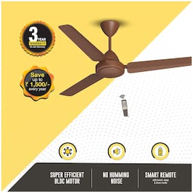 Gorilla Efficio Energy Saving 5 Star Rated with Remote Control and BLDC Motor 1200 MM Ceiling Fan - Matte Brown