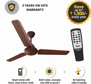 Gorilla Energy Saving 5 Star Rated 1200 Mm Ceiling Fan With Remote Control And Bldc Motor- Matte Brown