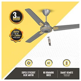 Gorilla Efficio+ Energy Saving 5 Star Rated 3 Blade Ceiling Fan With Remote Control and BLDC Motor, 1200mm- Sand Grey