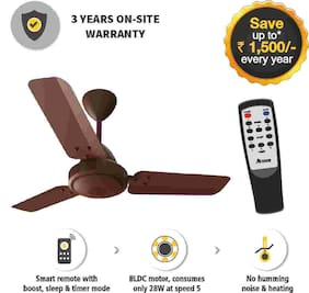 Gorilla Efficio Energy Saving 5 Star Rated 3 Blade Ceiling Fan With Remote Control and BLDC Motor, 900mm- Brown