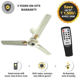 Gorilla EFFICIO+ ENERGY SAVING 5 STAR RATED WITH REMOTE AND BLDC MOTOR 1200 mm Ceiling Fan - Pearl Ivory
