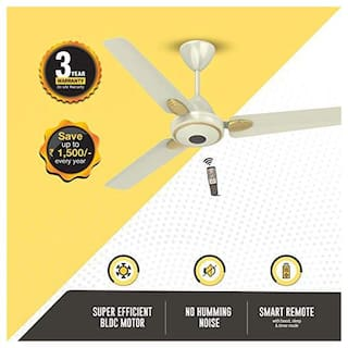 Atomberg Efficio+ Energy Saving 5 Star Rated with Remote and BLDC Motor 1200 mm Premium Ceiling Fan ( Pearl ivory , Pack of 1 )