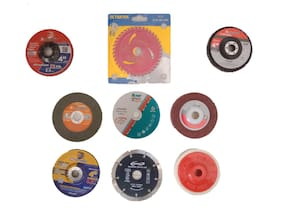 "Gpt Tools 4"" Combo of 9 pcs Wheels/Discs for Cutting Wood/Metal/Brick/Marble, Grinding, Polishing and Buffing"