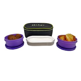 Granify Gt-1017 Purple 3 Containers Lunch box & Lunch bag ( Set of 1 , 600 ml )