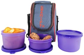 Granify Gt-3002 Purple 3 Containers Lunch box & Lunch bag ( Set of 1 , 1200 ml )