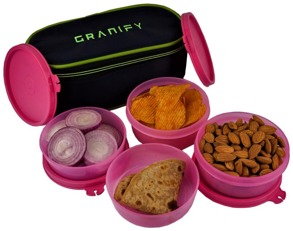 Granify Gt 1005 Pink 4 Containers Lunch box   Lunch bag   Set of 1 , 900 ml