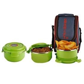 Granify Gt-3014 Green 3 Containers Lunch box & Lunch bag ( Set of 1 , 900 ml )