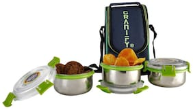 Granify Gt-2012 Silver 3 Containers Lunch box & Lunch bag ( Set of 1 , 900 ml )