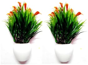Green Plant Indoor Artificial Small Flower Table Bonsai Plants Set Of 2