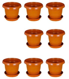 Green Planter Designer Pots Plant Container 13 cm Terracotta Set of 8 with round bottom plate
