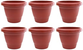Green Planter Designer Pots Plant Container 13 cm Terracotta Set of 6 without round bottom plate