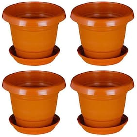 Green Planter Designer Pots Plant Container 13 cm Terracotta Set of 4 with round bottom plate