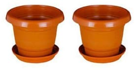 Green Planter Designer Pots Plant Container 13 cm Terracotta Set of 2 with round bottom plate