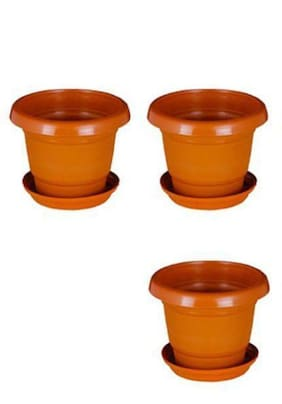Green Planter Designer Pots Plant Container 13 cm Terracotta Set of 3 with round bottom plate