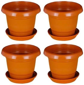 Green Planter Designer Pots Plant Container 11 cm Terracotta for Home Gardening, Unbreakable with bottom plate