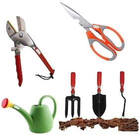 Green whisper Multipurpose Scissor, Sharp Edges | Garden Tool Kit with Pruner Comfortable and Durable (Pack of 6, Orange) | Stainless Steel Blade Cutter | Plastic Green Watering Can Sprayer