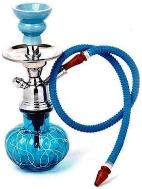 GREENTOUCH CRAFTS Glass Blue Hookah Set of 1