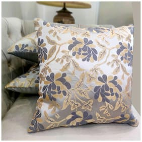 Good Vibes Embroidered Jacquard Square Shape Grey Cushion Cover ( Regular , Pack of 3 )