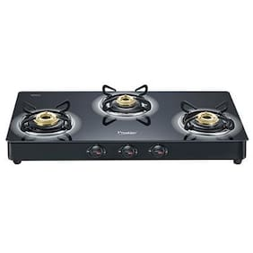Prestige 3 Burner Manual Regular Black Gas Stove - Royale
