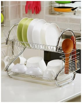 GTC 2 Tier Kitchen Dish Rack Crockery Cutlery Plates Holder Glass Organizer Stand Utensils Modern Storage Chrome Finish Shelves (1 Piece)  42CM-S