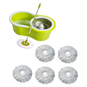 GTC 360° Spin Floor Cleaning Easy Bucket steel Mop with 5 Microfiber Heads FREE (Random Color)