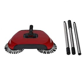 GTC 360 Rotary Home Use Magic Manual Telescopic Floor Dust Sweeper Automatic Brooms (Red)